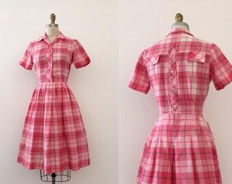 vintage 1950s shirtwaist dress // 50s pink cotton plaid day dress