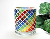 Stained glass mosaic candle holder rainbow