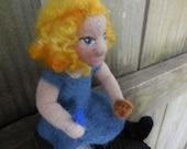 Ready to Ship Alice in Wonderland Felt Art Doll / Needle Felted Alice Figurine / Girl with Blue Dress / Fairy Tale Doll