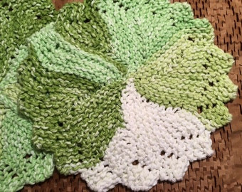 Spring Green - Round knitted dishcloths - Set of 2 - Shades of green and white.
