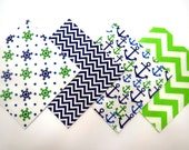 """48 Flannel Quilt Square Kit with 6""""x6"""" Flannel Squares in Navy, Green and White Anchors, Chevron Nautical Prints"""