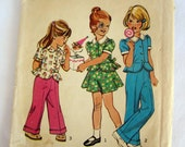 Uncut Vintage Child's Size 2 Simplicity Top, Skirt and Pants Pattern #6120, 1973