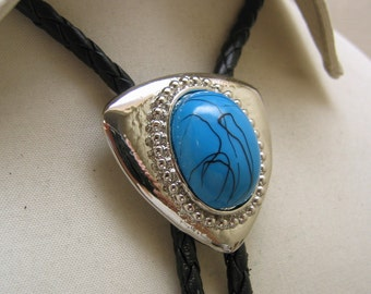 Vintage 1970s Modern Chromed Metal and Faux Turquoise Bolo Tie