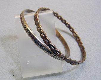 Set of 2, Patterned Bangle Bracelets, Vintage , Narrow