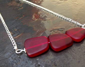 Cherry Red Bar Necklace:  Large Sea Glass Necklace, Long Chain Necklace, Modern Geometric Jewelry, Nautical Patriotic Ocean Beach Accessory
