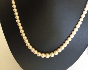 Marvella Signed Classic 18 Inch Graduated Strand of Pearls