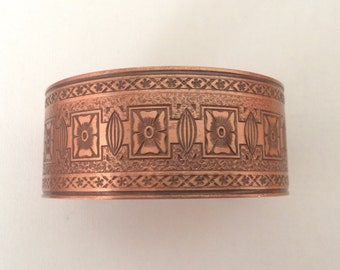 Lovely Etched Copper Cuff Bracelet