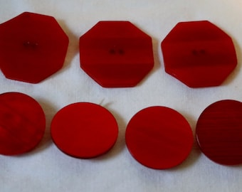 Button Lot Vintage Red Two Styles Shank Buttons Art Deco Octagon