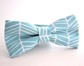Mens Bowtie- Turquoise and White Herringbone, Aqua Bow Tie, Teal Bow Tie