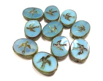 10 pieces Czech Glass Bird Beads, Animal Lampwork Beads, Dove Beads