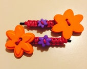 Macrame Bobby Pins with Flowers/ Hair Pins