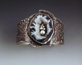 Geode- Black and White- Druzy- Crystals- Noir Sterling Silver- Stunning Bracelet- One of a Kind- Statement Cuff Bracelet