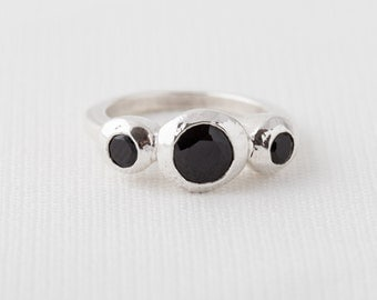 Three Stone Ring In Black Spinel