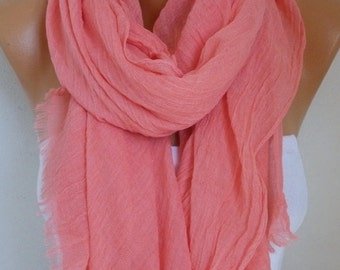 Coral Cotton Scarf, Soft, Shawl,Fall Summer Scarf,Cowl Oversized Wrap Gift Ideas For Her, Women Fashion Accessories,Women Scarves