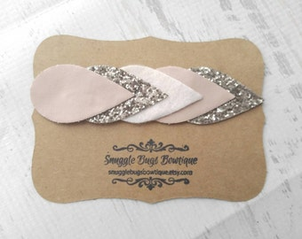 Nude and Champagne Faux Leather and Glitter Teardrop Arrow Headband - Newborn Baby to Adult