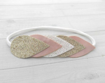 Blush Pink, White and Champagne Faux Leather and Glitter Teardrop Arrow Headband - Newborn Baby to Adult