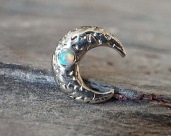 Moon Opal Tragus Earring Cartilage Earring White Opal