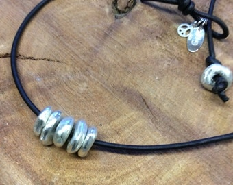 sterling bead and leather necklace