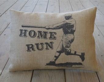 Homerun Baseball Burlap Pillow ,Sports, Baseball, INSERT INCLUDED
