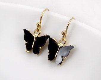 Black earrings, butterfly earrings