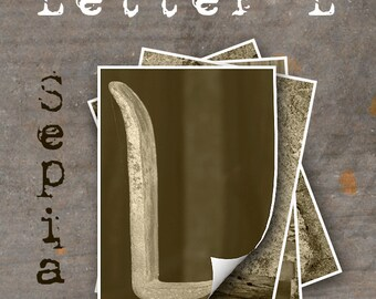 LETTER L Alphabet Photography LETTERS - Sepia Alphabet Photos