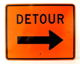 "Vintage Metal ""DETOUR"" Sign in Orange and Black, 30"" x 24"" (c.1980s) - Industrial Home Decor, Collectible Signage, Man Cave"