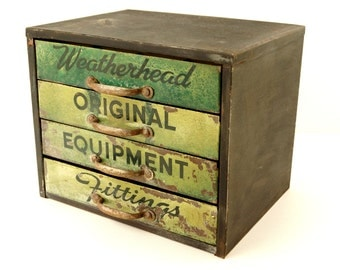Vintage Weatherhead Original Equipment Fittings Hardware Cabinet with 4 Drawers (c.1940s) - Industrial Storage