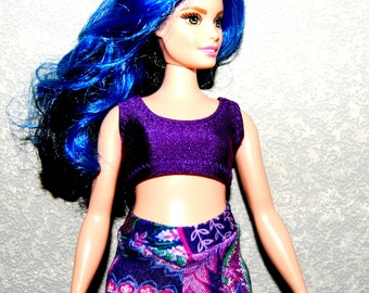 Curvy Barbie Dark Purple sports bra exercise top A4B154 fashionista fashion doll clothes READY TO SHIP