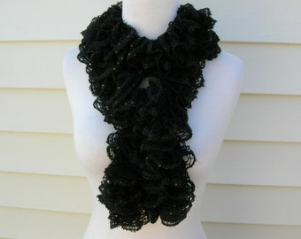 SUMMER SALE Handmade Dressy Black Twisted, Sequined Knit Long Oblong Scarf