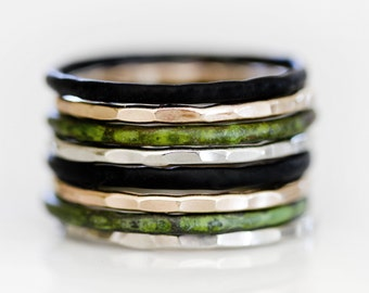 Patina Stacking Rings / Thin Rings / Stackable Rings / Stack / Patina / Silver Stack Ring / Stacking Ring Set / Stack Rings / Forest Dreams