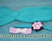 Disney Crochet Ariel The Little Mermaid Costume - Cocoon Tail, Flower Headband, Bandeau style Bikini Top - photo prop - for newborn to 3 mo