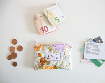 Coin Purse, Floral Mini Coin Purse, Pouch for Cards and Coin, Zipper Coin Purse, Mini Zipper Wallet, Eco Friendly, Made in Europe, 3 Ptice