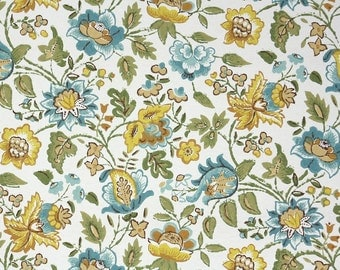 Retro Wallpaper by the Yard 70s Vintage Wallpaper – 1970s Blue and Gold Floral Chintz Wallpaper