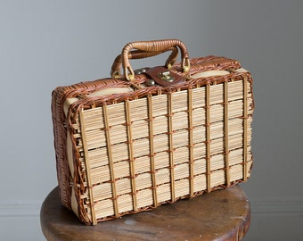 1940s 50s Wicker picnic handbag