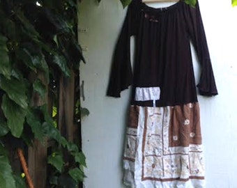 SALE Bronwyn moors forest fairy woods large upcycled anthropologie like handmade vintage linen brown dress tunic