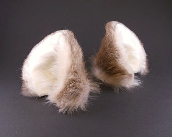 Fluffy Beige Gray Grey White Real Fur and Leather Wolf Ears Inumimi Cosplay Furry Fairy Fantasy LARP Costume