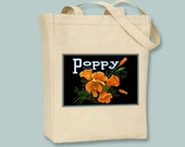 Poppy Brand Oranges Vintage Fruit Crate Label Black or Neutral Canvas Tote  -- selection of sizes available