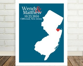 New Jersey Wedding Gift New Jersey Map New Jersey Poster New Jersey Print State Map Holiday Gift Christmas Gift for Him Valentines Day Gift