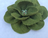 Olive Green brooch pin in wool and viscose fabric, handmade