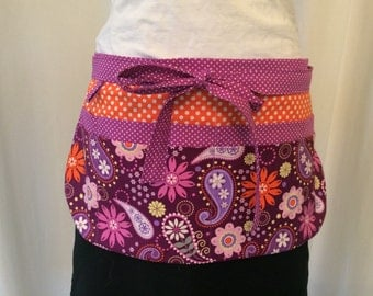 Utility Apron/Teacher Apron with 8 pockets and loop in paisley floral polka dot print