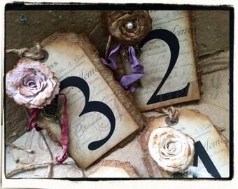 Table Numbers Vintage / Aged Country Wedding / Vintage Wedding