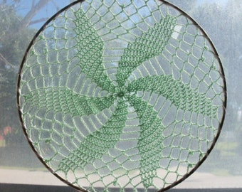 Whirlwind Mandala Suncatcher - Fine Crochet Doily in Metal Hoop for Hanging