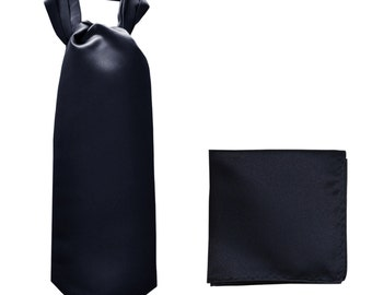 Men's Solid Navy Blue Ascot Cravat Tie and Handkerchief, for Formal Occasions