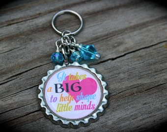 Personalized Teacher Keychain - Teacher Appreciation - Inspire - Education - End Of School - Teacher Gift - School - Mentor -