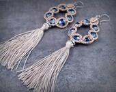 Tassel Earrings, Cobalt Blue, Large Statement Earrings, Bohemian Crochet Jewelry