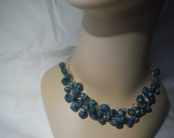 "Crochet Blues & Grays Necklace All Handmade 17"" Long"