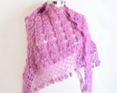 Handmade Crochet Lilac Shawl-Free Shipping