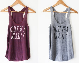 Must Be A Weasley Women's Racerback Tank by So Effing Cute - Made in USA - Inspired by Harry Potter