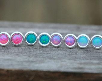 SALE - OPAL STUD eARRING - Opal earring - Sterling Silver Opal Earring - october earring - october jewelry - opal earrings - daity earring