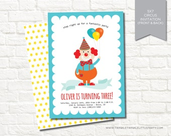 Circus Clown Themed Digital Birthday Party Invitation
